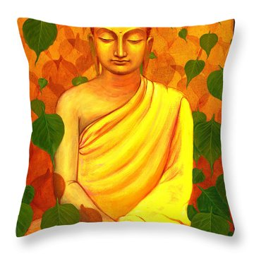 Buddha In Green Leaves Throw Pillow