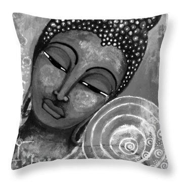 Throw Pillow featuring the mixed media Buddha In Grey Tones by Prerna Poojara