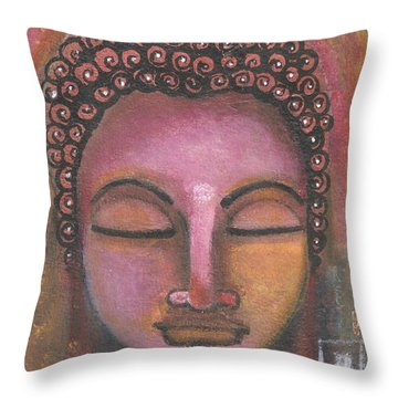 Buddha In Shades Of Purple Throw Pillow