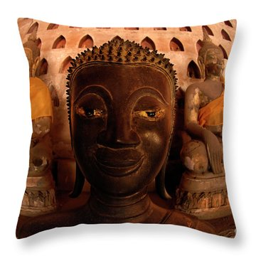 Throw Pillow featuring the photograph Buddha Laos 1 by Bob Christopher