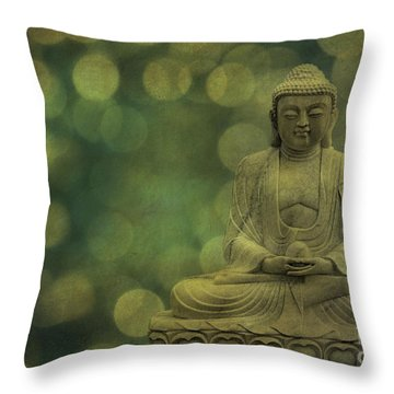 Buddha Light Gold Throw Pillow by Hannes Cmarits
