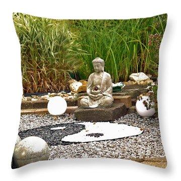 Buddha Looks At Yin And Yang Throw Pillow