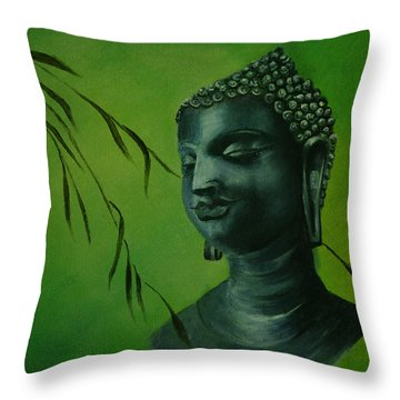 Throw Pillow featuring the painting Buddha by Lynn Hughes