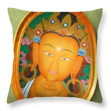 Buddha Mirror Throw Pillow by Robby Donaghey
