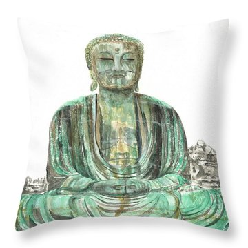 Buddha Of Kamakura Statue Throw Pillow