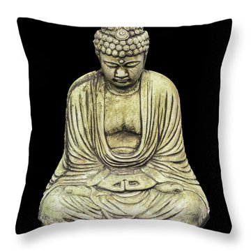 Buddha On Black Throw Pillow