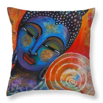 Throw Pillow featuring the painting Buddha by Prerna Poojara