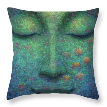 Throw Pillow featuring the painting Buddha Smile by Sue Halstenberg
