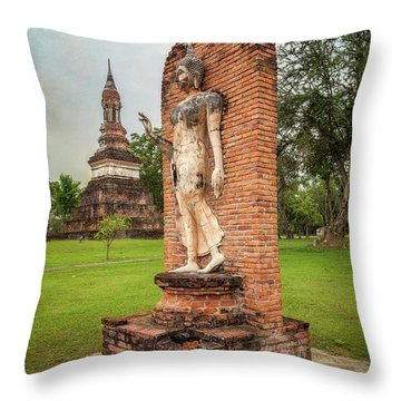 Throw Pillow featuring the photograph Buddha Statue Sukhothai by Adrian Evans