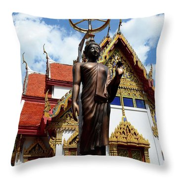 Buddha Statue With Sunshade Outside Temple Hat Yai Thailand Throw Pillow