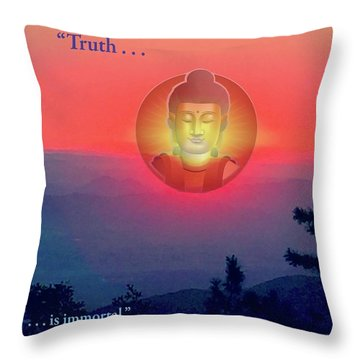 Buddha Sunset Throw Pillow by Jack Eadon