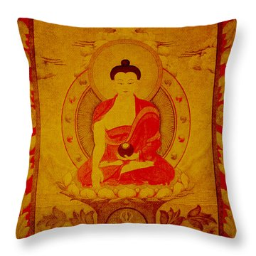 Buddha Tapestry Gold Throw Pillow