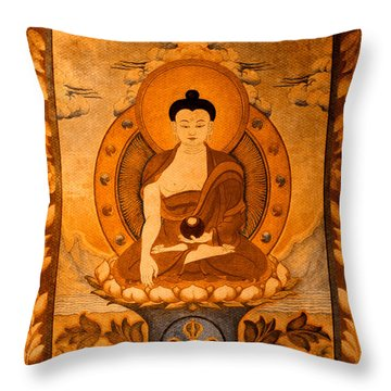 Buddha Thangka Gold Throw Pillow