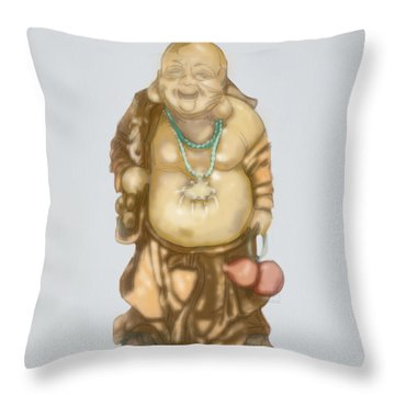Throw Pillow featuring the mixed media Buddha by TortureLord Art