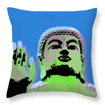 Throw Pillow featuring the digital art Buddha Warhol Style by Jean luc Comperat