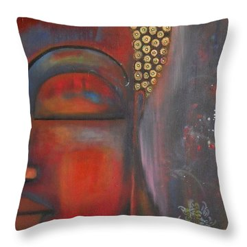 Buddha With Floating Lotuses Throw Pillow by Prerna Poojara
