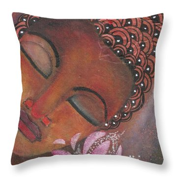 Buddha With Pink Lotus Throw Pillow