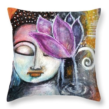 Throw Pillow featuring the mixed media Buddha With Torn Edge Paper Look by Prerna Poojara