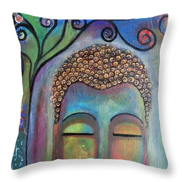 Buddha With Tree Of Life Throw Pillow
