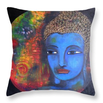 Buddha Within A Circular Background Throw Pillow