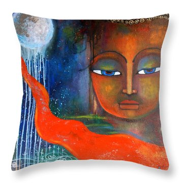 Buddhas Robe Reaching For The Moon Throw Pillow