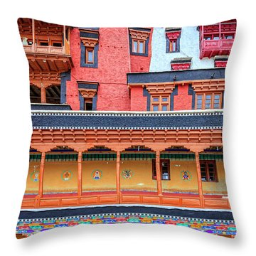 Throw Pillow featuring the photograph Buddhist Monastery Building by Alexey Stiop