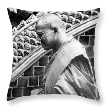 Buddhist Monk Throw Pillow