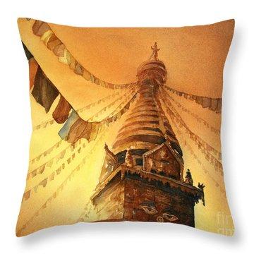 Buddhist Stupa- Nepal Throw Pillow by Ryan Fox