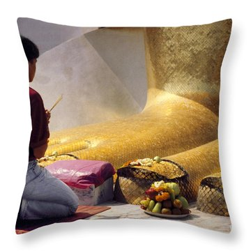 Throw Pillow featuring the photograph Buddhist Thai People Praying by Heiko Koehrer-Wagner