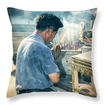 Throw Pillow featuring the photograph Buddhist Way Of Praying by Heiko Koehrer-Wagner