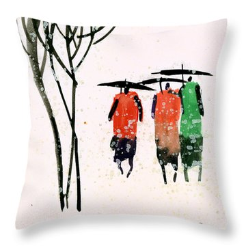 Buddies 3 Throw Pillow by Anil Nene