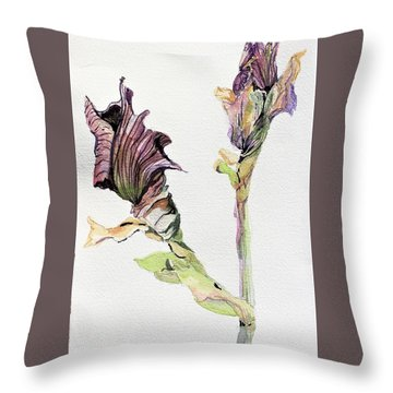 Budding Irises Throw Pillow by Mindy Newman