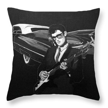 Throw Pillow featuring the painting Buddy Holly And 1959 Cadillac by Richard Le Page