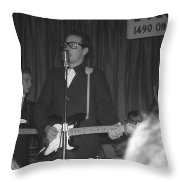 Buddy Holly Onstage At The Surf Ball Room Playing His Last Concert Throw Pillow by The Titanic Project