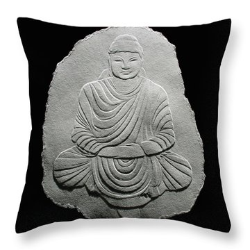 Budha - Fingernail Relief Drawing Throw Pillow by Suhas Tavkar