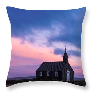 Budir Black Church Throw Pillow