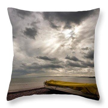 Budleigh Salterton Beach Throw Pillow