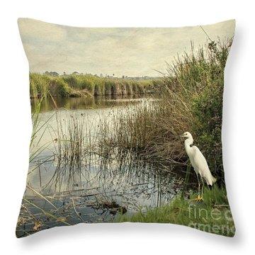 Buena Vista Lagoon-snowy Egret Throw Pillow