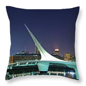 Buenos Aires - Argentina - Puente De La Mujer At Night Throw Pillow