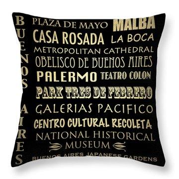 Buenos Aires Famous Landmarks Throw Pillow