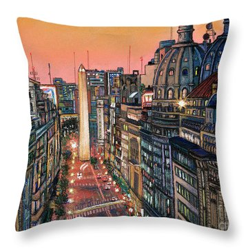 Buenos Aires Twilight Throw Pillow by Bernardo Galmarini