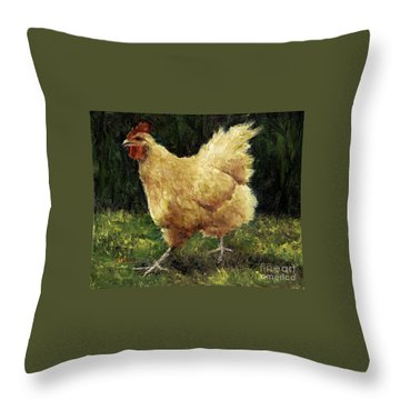 Buff Orpington Chicken Throw Pillow by Jill Musser