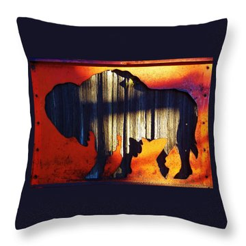 Throw Pillow featuring the photograph Wooden Buffalo 4  by Larry Campbell