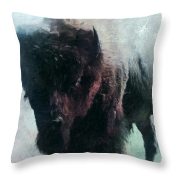 Buffalo American Bison Throw Pillow