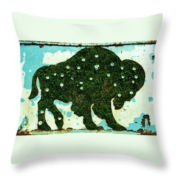 Throw Pillow featuring the photograph Buffalo And Flowers by Larry Campbell