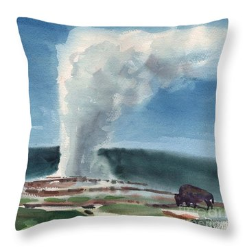Buffalo And Geyser Throw Pillow by Donald Maier