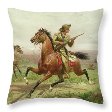 Buffalo Bill Fighting The Indians Throw Pillow