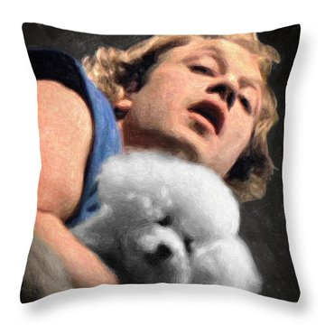 Throw Pillow featuring the painting Buffalo Bill by Taylan Apukovska