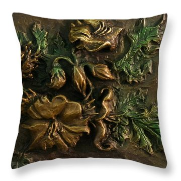 Throw Pillow featuring the relief Buffalo Bur Flower From Snowy Range Life by Dawn Senior-Trask