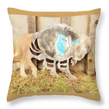 Throw Pillow featuring the photograph Buffalo Dreams by Larry Campbell